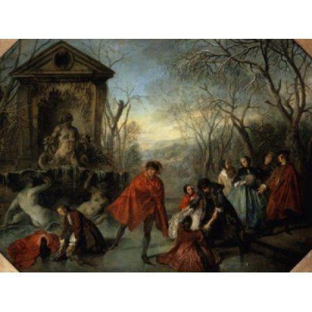 Winter Or The Skaters Lhiver Ou Les Patineurs Nicolas Lancret (1690-1743 French) Musee du Louvre Paris France Canvas Art - Nicolas Lancret (18 x 24)