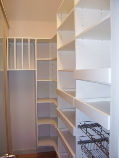 Closet Pantry Design Ideas simple white kitchen pantry cabinet from timber set on the corner between two doors Find This Pin And More On Pantry Kitchen Ideas