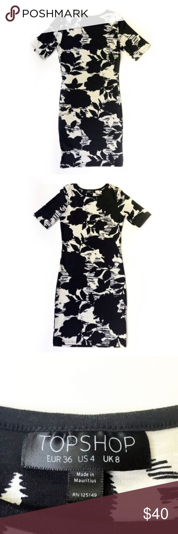 """Topshop Bodycon Floral Print Dress US size 4 Topshop bodycon dress with floral print stretch dress. Excellent Condition. Super cute. Fabric content 91% polyester and 9% elastane. Tag size UK 8, EURO 36, US 4. Approximate measurements laying flat: armpit to armpit 14"""", length shoulder to hem 32.5"""". Bundle & Save! Topshop Dresses"""