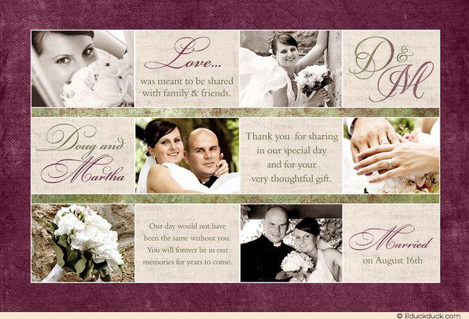 Six Photo Wedding Thank You Card - Sage Green & Eggplant Elegance with Ivory.