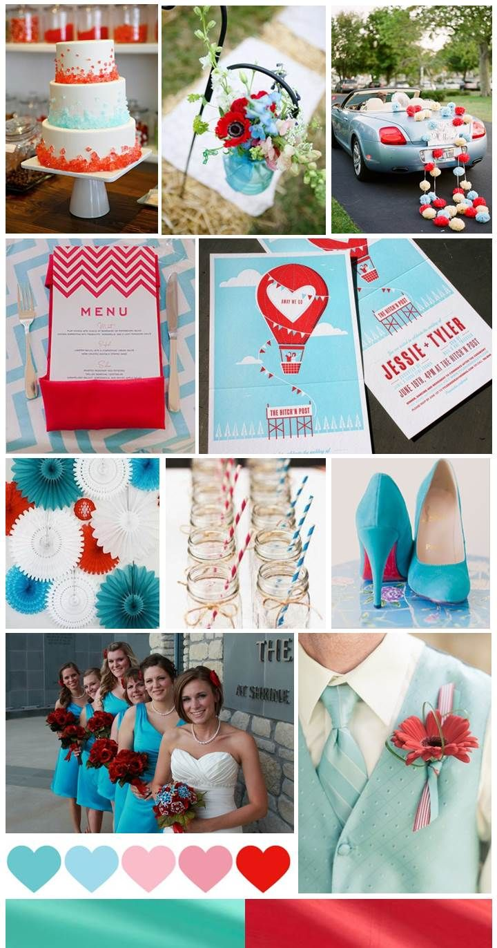 red blue wedding theme | The colors of this Red and Light Blue Wedding inspiration board were ...