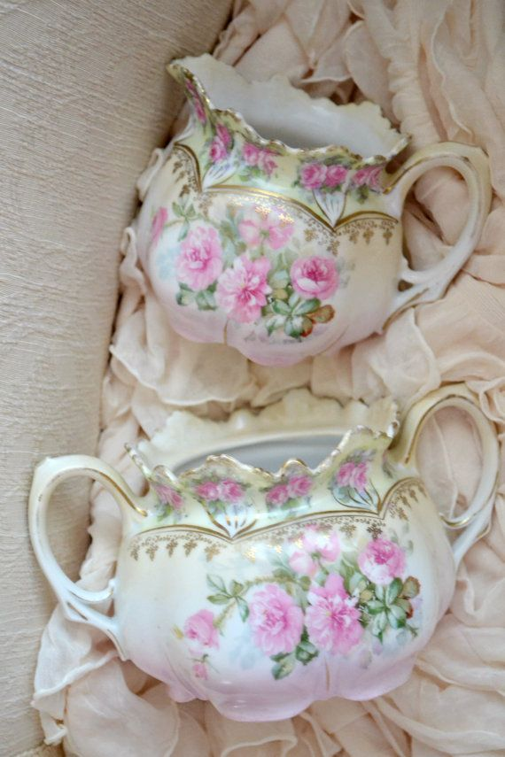 Stunning Antique RS Prussia Cream and Sugar