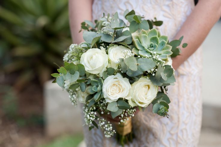 Bridal Bouquet - Cluster style posey of mixed flowers in White and Green. A few Rock Roses to be introduced