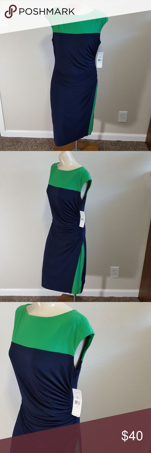 RALPH LAUREN Colorblock Ruched Dress SZ 10 NWT NEW WITH TAG (original tag $134.00) Ralph Lauren dress is Stylish, comfortable, and cute! Stylish with blocks of green that accentuate the curve-defining fit with ruching down one side seam Comfortable with it's stretchy construction which ensures continuous comfort. Cute sheath with cap-sleeves .   Details: 40-in. approx. length from shoulder to hem 19 in. from armpit to armpit  Fully lined Short Cap sleeves 95% polyester/ 5% elastane SIZE: 10…