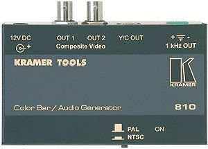 Kramer Electronics 810 Composite Video and S-Video Color Bar / Audio Tone Generator. Output - 2 composite, 1 s-Video (Y/C) and 1 1kHz audio tone. Multi-Standard - PAL or NTSC output (selectable). Compact Kramer TOOLS - 3 units can be rack mounted side-by-side in a 1U rack space with the optional RK-3T rack adapter.