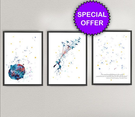 THE LITTLE PRINCE Watercolor Art Print Pack N1- Le Petit Prince Nursery Ink Colorful Vintage Painting illustrations Print Wall Art