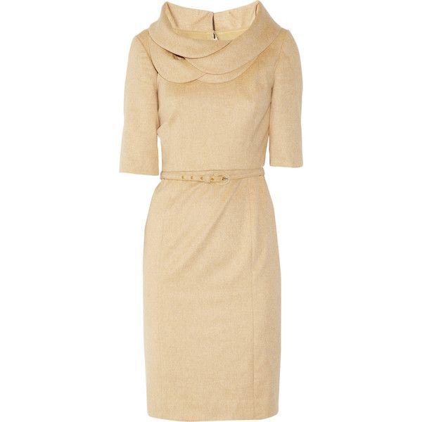 Oscar de la Renta Petal-collar wool-blend dress (45.535 RUB) ❤ liked on Polyvore featuring dresses, vestidos, платья, day dresses, beige dress, petal dress, camel dress, zipper dress and elbow sleeve dress