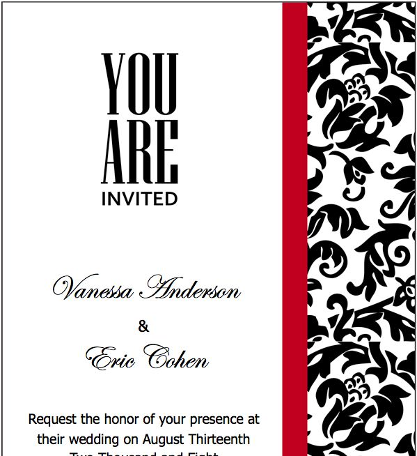 Black Red Wedding Invitations Template for Pages Wedding