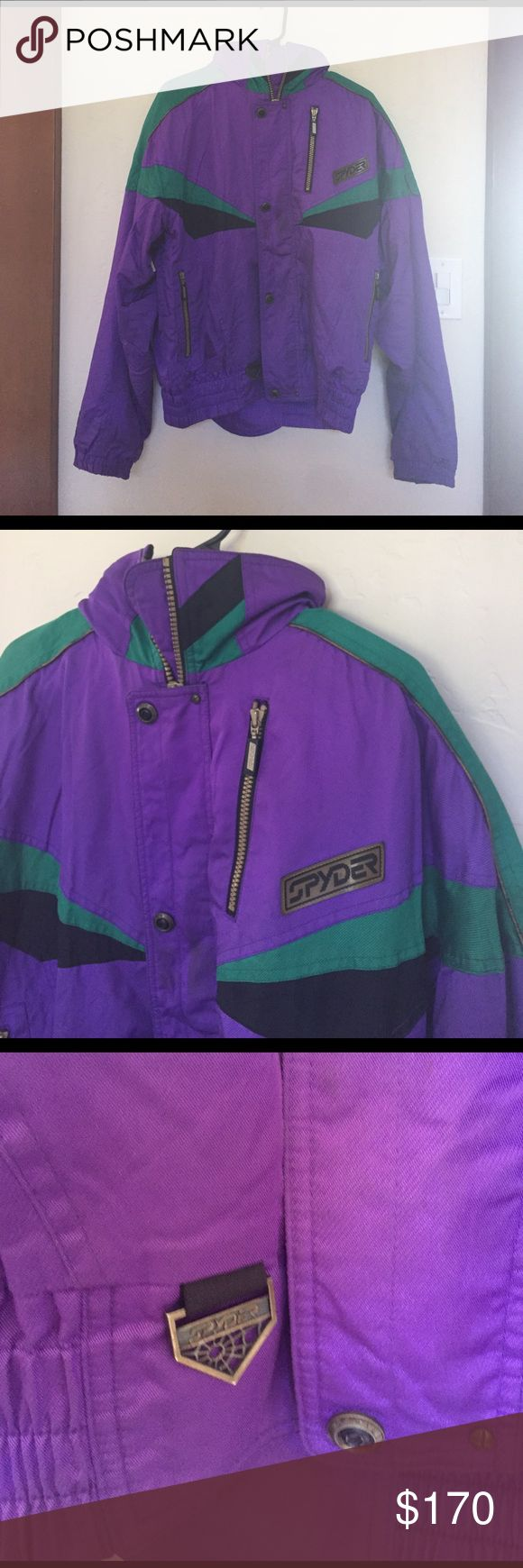 Vintage Spyder Men's Ski Jacket Awesome vintage spyder ski/snow jacket with ceramic insulation (thinsulate). Great condition--no holes or rips and all the zippers work. Small stains on the front and collar (pictured) but the purple color makes it really hard to see them. Also they might be removed with a good wash, this jacket has been sitting in a plastic box for years. Jacket can be worn w/ or w/o a hood (shown in pictures). Amazing condition for a vintage jacket Spyder Jackets & Coats Ski…