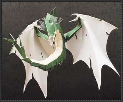 Green Flying Dragon Free Papercraft Download