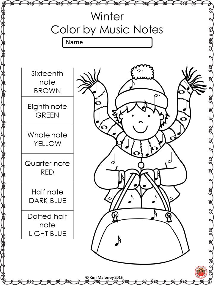 Winter Music Activities Color by Music Symbols Music