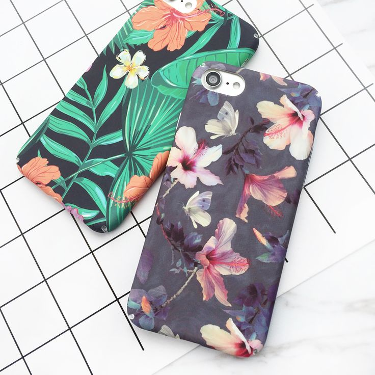 Tropical Banana Leaf Flowers Cherry Plants Design Phone Case For IPhone 6 6S 7 7 Plus Hard Scrub Phone Bags & Case YC2077