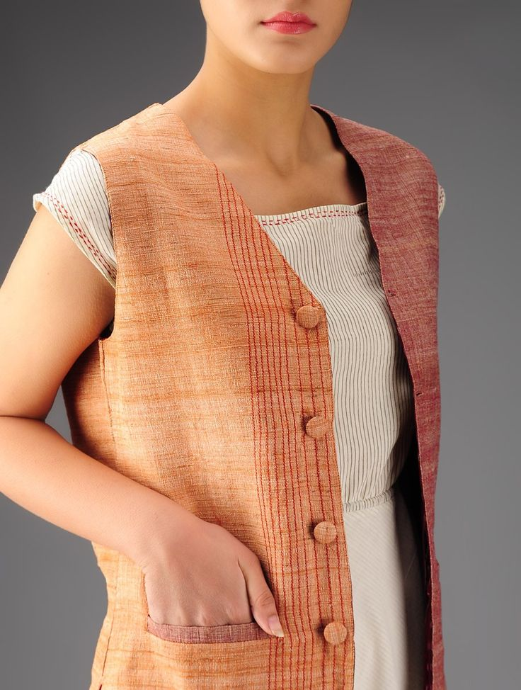 Orange - Burgundy Khadi Cotton Ikat Reversible Jacket