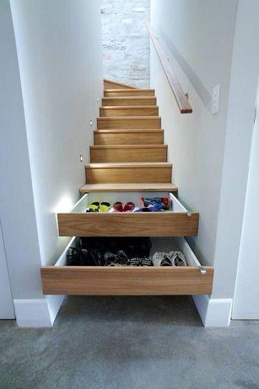 Des marches d'escalier rangements à chaussures, original et ingénieux