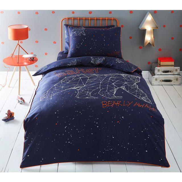 Kids' multicoloured 'Bearly Awake' duvet cover and pillow case set