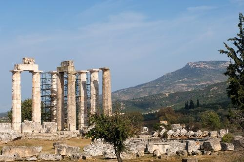 Ancient Nemea -   Details: www.nemea.org. Admission includes stadium and museum, 7€. May-Oct Tues-Sun 8am-7pm, Nov-Apr Tues-Sun 8:30am-3pm.    Photo Caption: Ruins of the Temple of Zeus in Ancient Nemea. Peloponnese, Greece.    Photo by Frommers.com