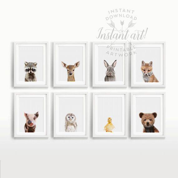 Nursery Wall Art Set Of 8 Nursery Decor Modern Safari