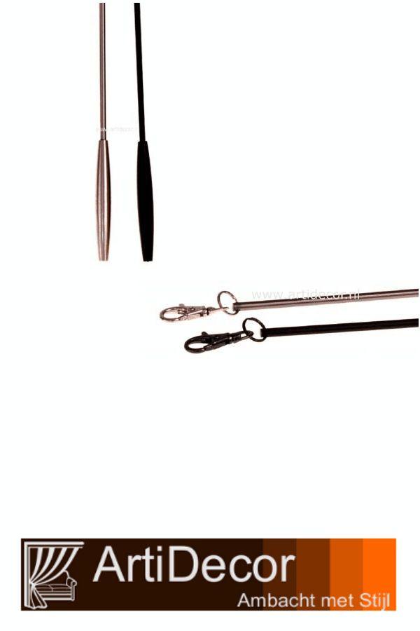 Trekstang Elite 1 mtr lang met sterke luxe bevestiging - clip. In 2 metaal kleuren verkrijgbaar Patina mat zwart/grijs of Nikkel mat. Vragen? wij van ArtiDecor staan voor u klaar. 072-5158252