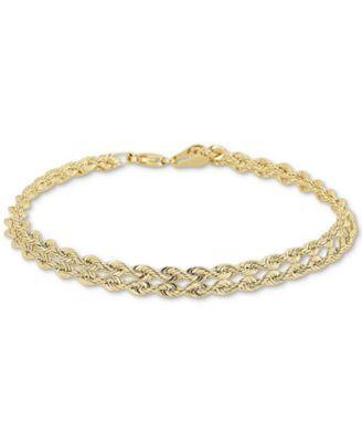 1189a2d7b67f91 Double Row Twisted Heart Link Bracelet in 14k Gold | Macys | 14k ...