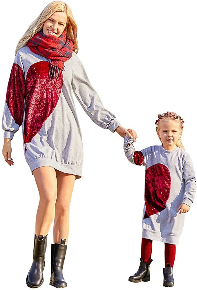 PopReal Mommy and Me Outfits Love Heart Pattern Sweatshirt Hoodies Long Sleeve Shirt Dress Mom and Daughter Matching Outfits