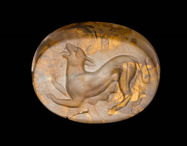 Chalcedony scaraboid gem with crouching panther. Greek. Classical Period. Late 5th–early 4th century B.C. | The Museum of Fine Arts, Boston