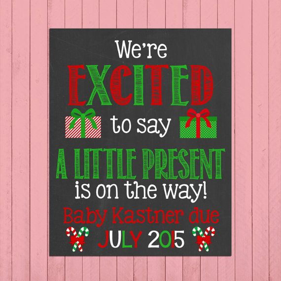 Christmas Pregnancy Announcement Chalkboard Poster Printable // We're Excited to Say // Pregnancy Reveal Photo Prop // Winter // Expecting by PersonalizedChalk