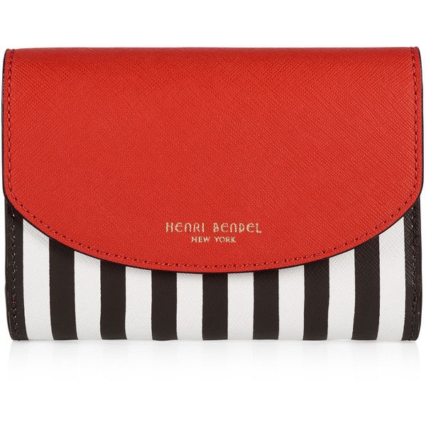 Henri Bendel Centennial Stripe Medium Wallet (590 DKK) ❤ liked on Polyvore featuring bags, wallets, poinciana multi, snap bag, coin wallet, saffiano leather wallet, henri bendel bags and snap closure wallet