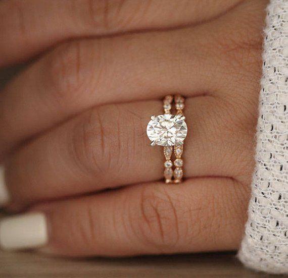 Wedding Ring Set Moissanite Rose Gold Engagement Ring Oval | Etsy