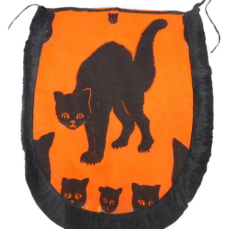 vintage crepe paper apron with arched back black cat halloween decoration usa dennison company 1920s - Black Cat Halloween Decorations