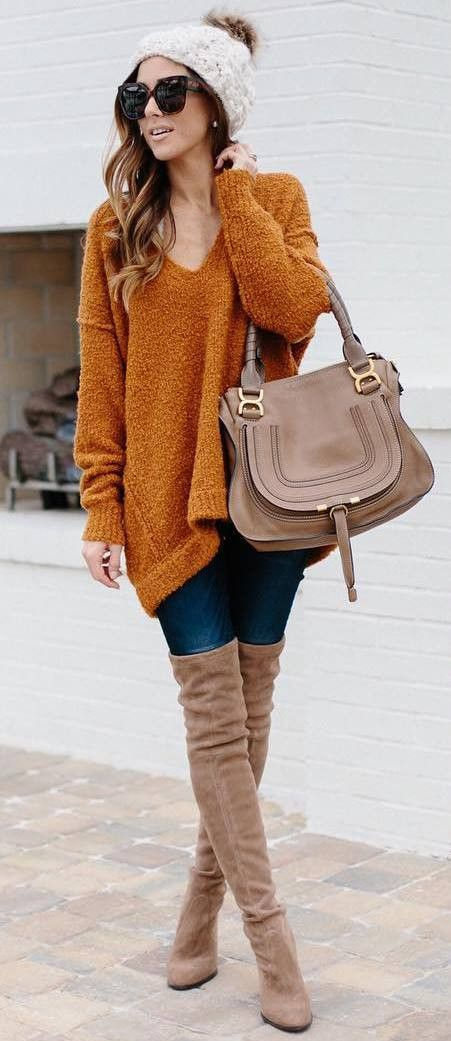 how to style a sweater : dress hat bag skinnies over knee boots