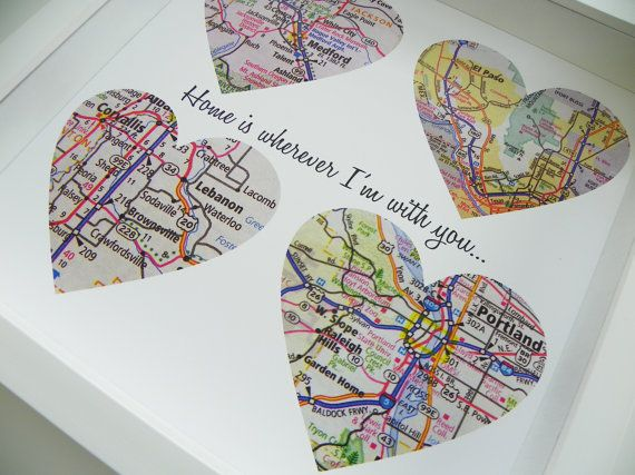 Unique Wedding Gift Personalized Map Heart Art Gift - Any Location Available - Gift for Bride Gift For Groom