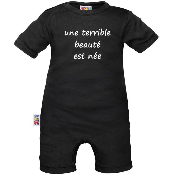 Barboteuse bébé noire avec message : une terrible BEAUTE est née