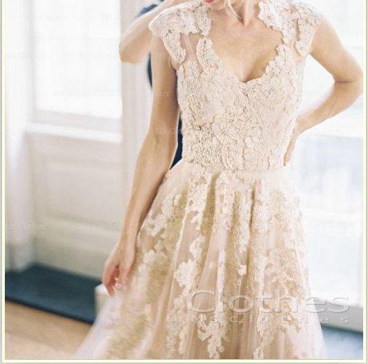 Custom Made V-neck Lace Wedding Dresses, Wedding Dresses, Lace Bridal Dress, Lace Wedding Gowns, Wedding Dress 2014 on Etsy, $304.80 CAD