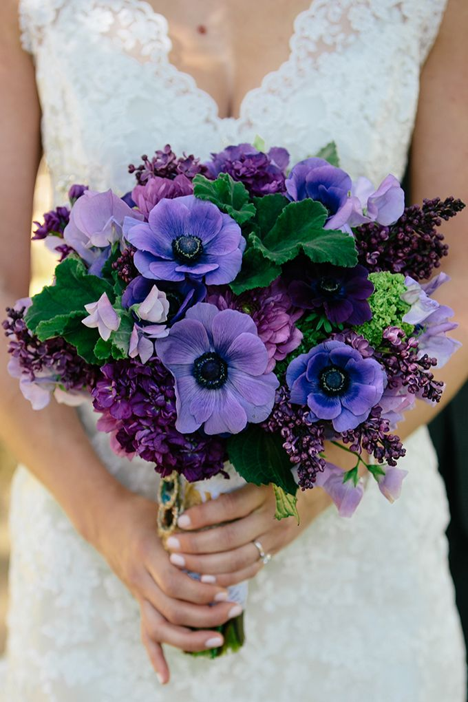 Purple bouquet with anemones and lilacs