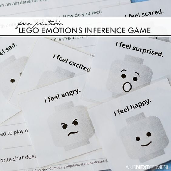 Autism - learning emotions, body language, empathy & life skills. Free printable LEGO emotions inference game.