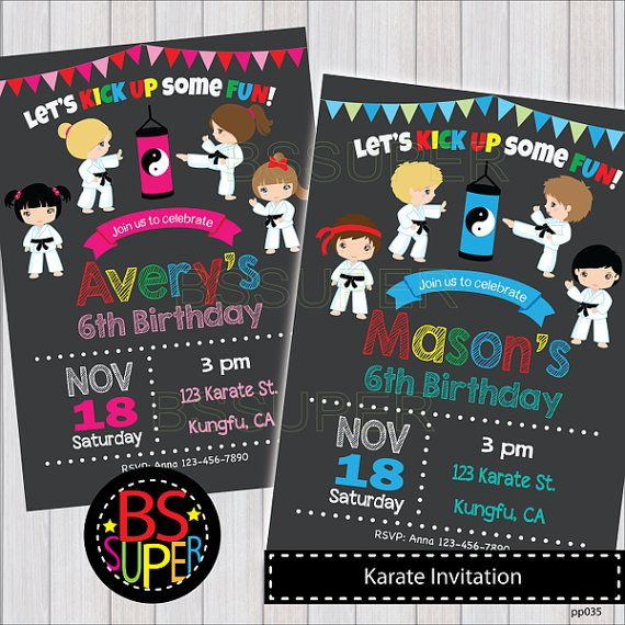 KARATE Invitation Karate Birthday Party invitation Karate