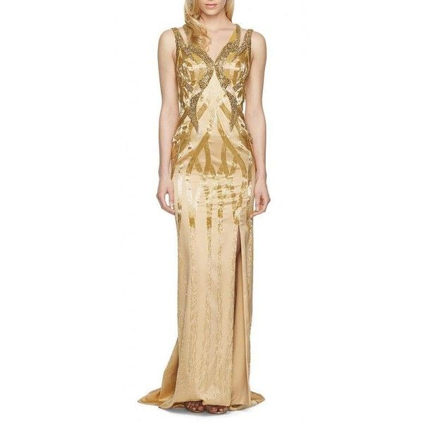 Versace Gold Sequin Embellished Open Back Gown (9,440 SGD) ❤ liked on Polyvore featuring dresses, gowns, long sequin gown, gold sequined dress, long evening gowns, long gown and evening cocktail dresses