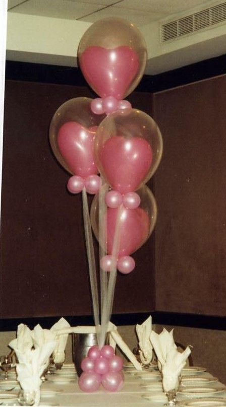 Lovely Balloon Centerpiece With Pink Hearts Inside Clear
