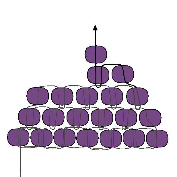 Aprender a disminuir con la puntada de ladrillo, y usted puede hacer una forma de triángulo versátil. Prueba esta forma como un componente del pendiente, o coser varios juntos en una pulsera.