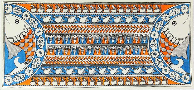 Authentic Hand Painted Fish Theme Indian Madhubani Painting - Happy Fish   NOVICA