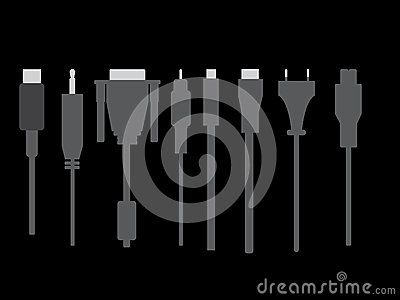 Vector black and white cable model for website , printing  or icon with black background