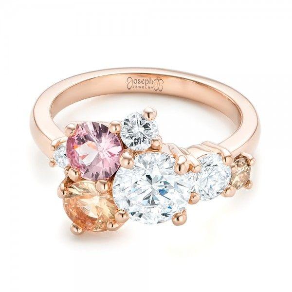 Custom Cluster Set Diamond and Sapphire Engagement Ring