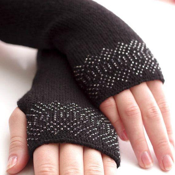 Merino wool beaded fingerless gloves wrist warmers by evarica, $69.00