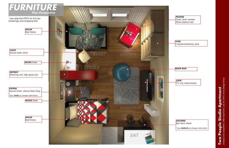 IKEA Studio Apartment Ideas | Two people studio apartment plan perspectives  with IKEA furniture ... | Ideas for the House | Pinterest | More Ikea studio  ...