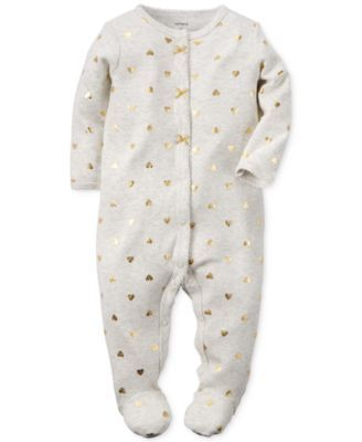 Gold hearts cover Carter's one-piece coverall for baby girl, adding a sweet and…
