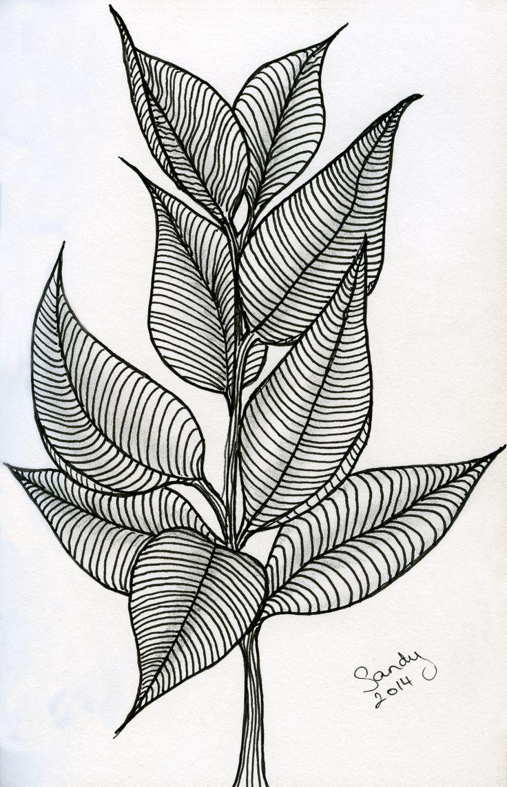 Leaves Zentangle design by Sandy Rosenvinge Lundbye.