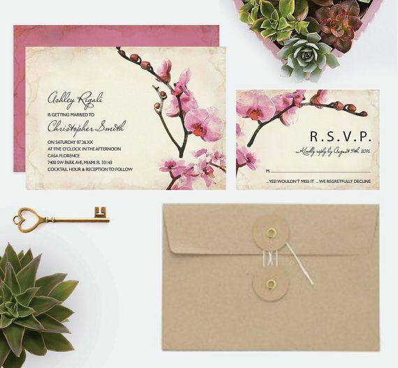 Wedding Invitation Set  Orchid Invites Pink Purple by VGInvites