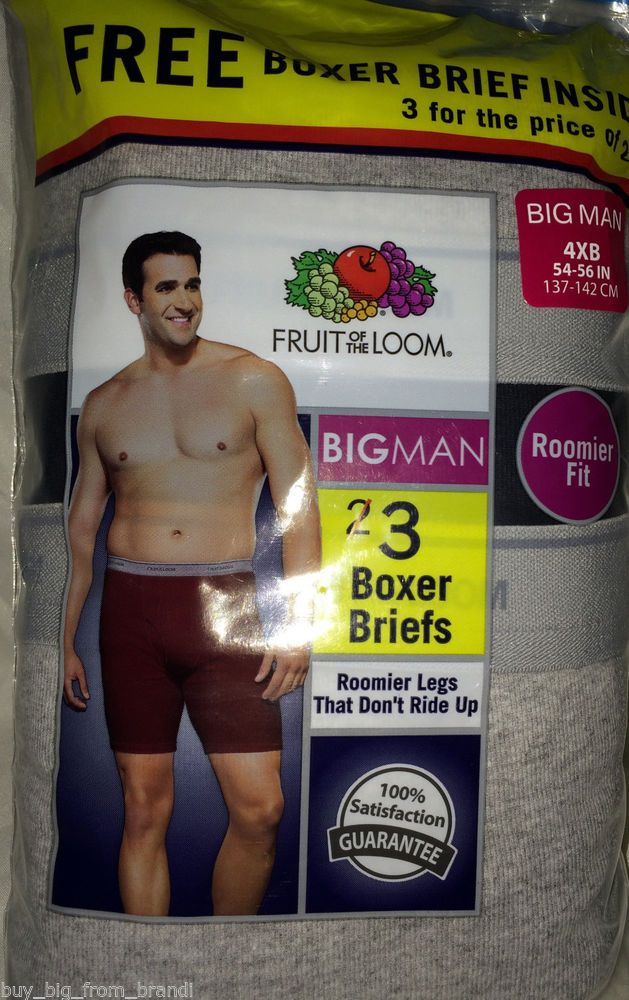 1bcd20f7 NEW 3 Pair 4XL BIG Mens Fruit of the Loom Boxer Brief Briefs 4X 54-56 Black  Gray #FruitoftheLoom #BoxerBrief | Big & Tall Men's Fashion | Tall men  fashion, ...