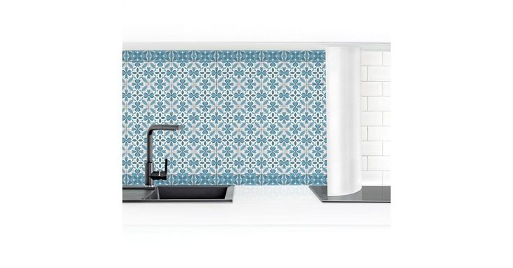 Küchenrückwand »Geometrischer Fliesenmix Blüte Blaugrau«
