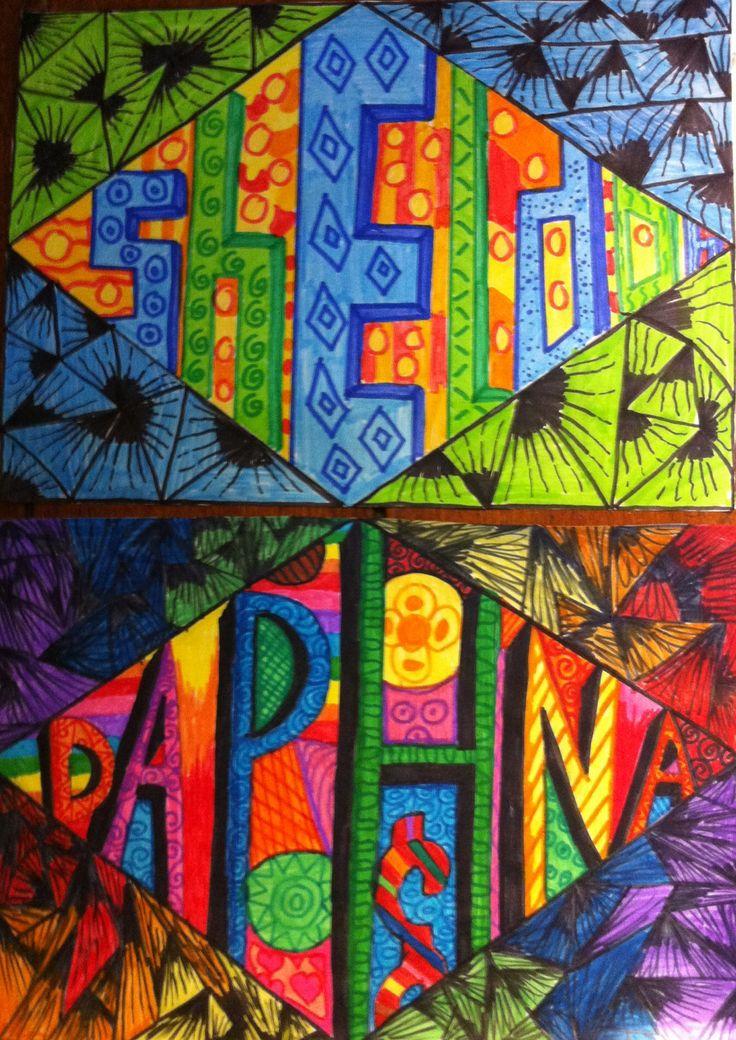 Leuke tekenopdracht: teken een ruit op A4 papier en schrijf daarin je naam in zelfontworpen letters. Simpel, maar leuk resultaat! Gemaakt door groep 8 van OBS de Wilgenhoek uit Haarlem.